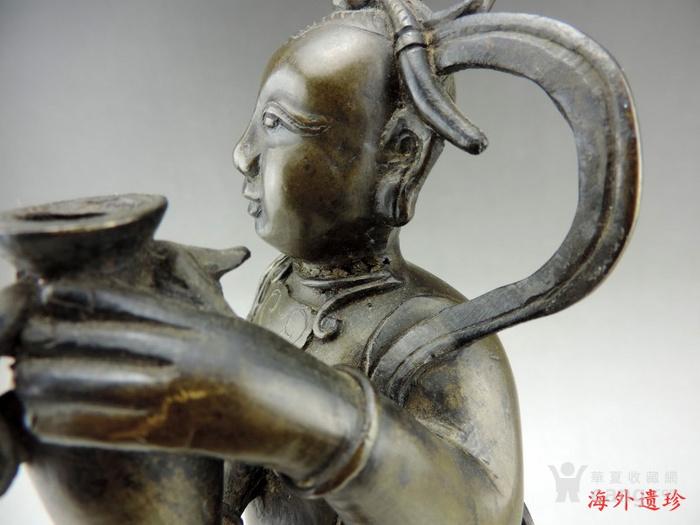 清代 童子报平安铜像高33.8厘米图10