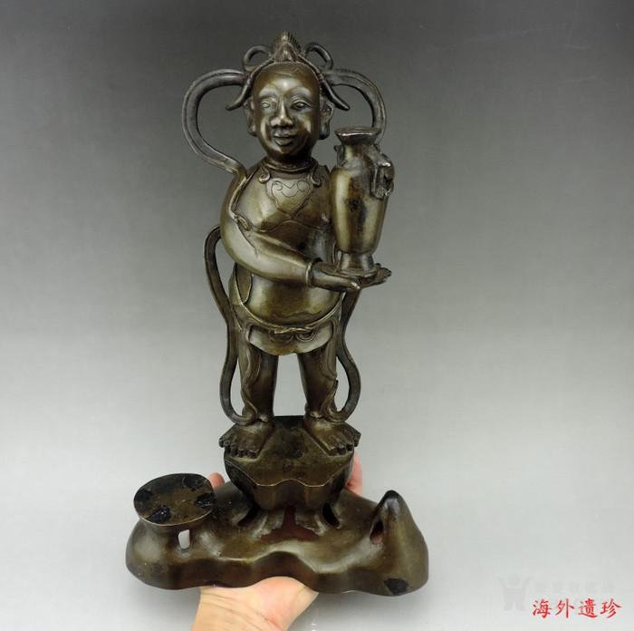 清代 童子报平安铜像高33.8厘米图12