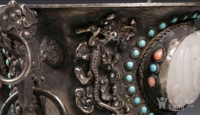 清代包浆厚重的老银嵌宝熏炉图5