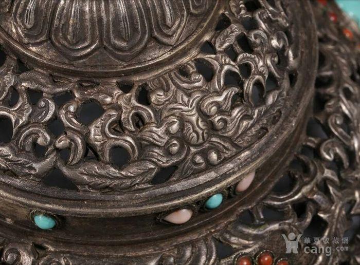 清代包浆厚重的老银嵌宝熏炉图6