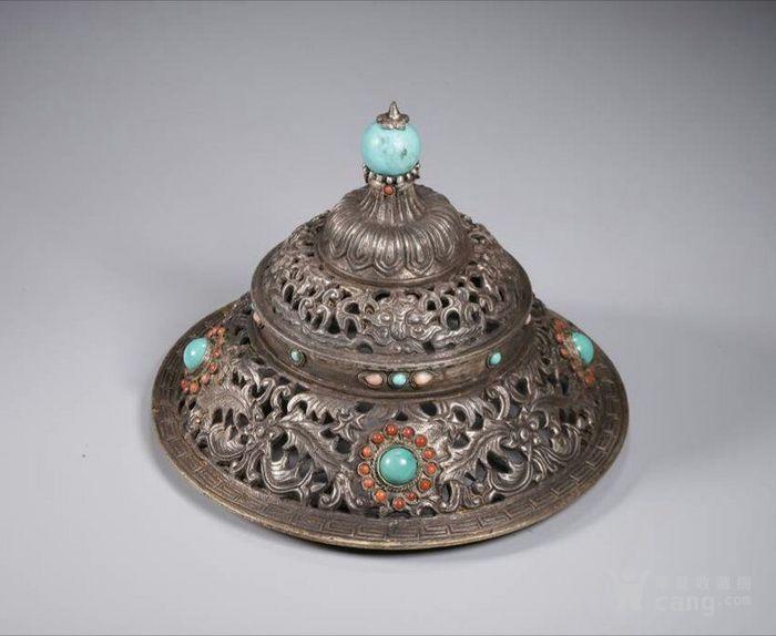 清代包浆厚重的老银嵌宝熏炉图7
