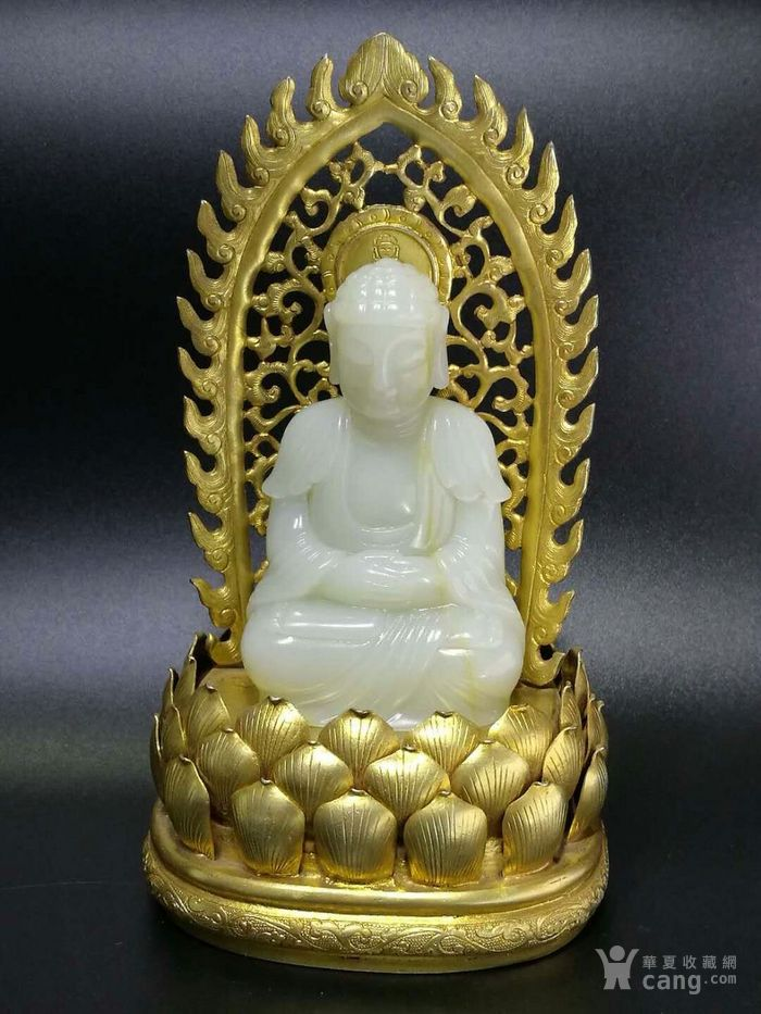 清代和田白玉释迦牟尼佛造像带铜鎏金底座图7