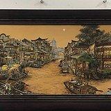 南乡旧梦图瓷板挂屏