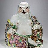 解放初大师级作品特大号大肚弥勒佛瓷塑坐像 醉墨轩