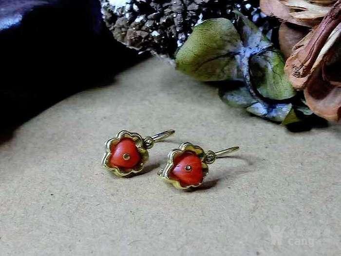 德回流1900年天然沙丁红珊瑚镶嵌耳环 新年价 原价598图6