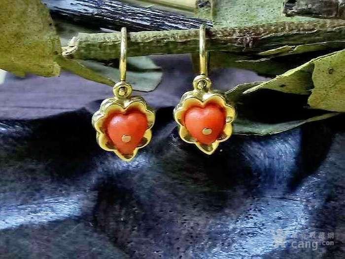 德回流1900年天然沙丁红珊瑚镶嵌耳环 新年价 原价598图3