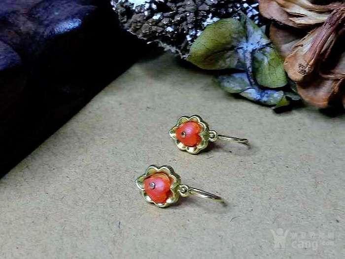 德回流1900年天然沙丁红珊瑚镶嵌耳环 新年价 原价598图4