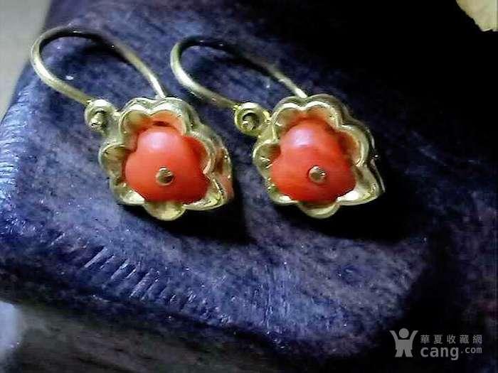 德回流1900年天然沙丁红珊瑚镶嵌耳环 新年价 原价598图2