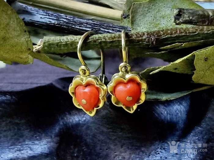 德回流1900年天然沙丁红珊瑚镶嵌耳环 新年价 原价598图9
