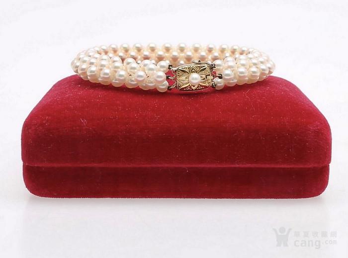 珍珠之王MIKIMOTO御本木14K金AKOYA珍珠手链。图1