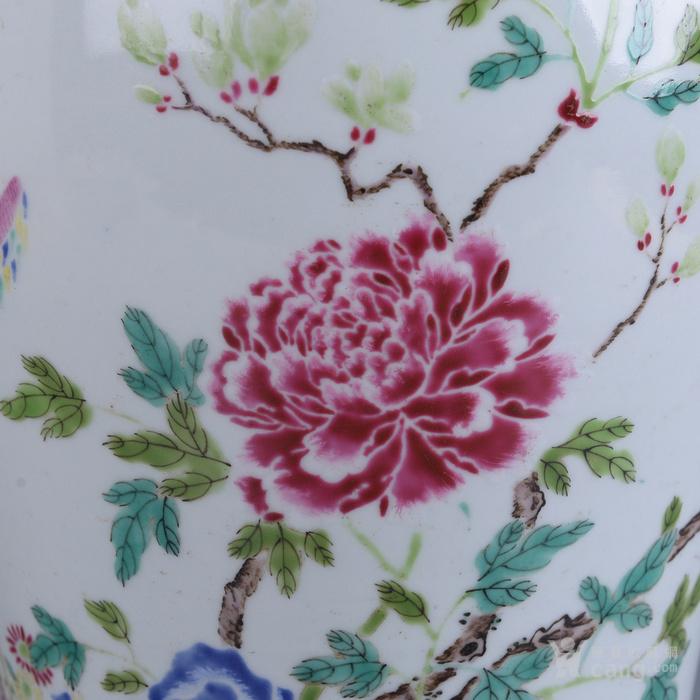 欧洲回流粉彩花卉梅瓶图5