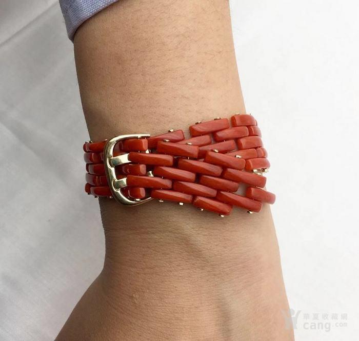 18k金镶嵌意大利产沙丁特级色珊瑚 带款手链软手镯图5