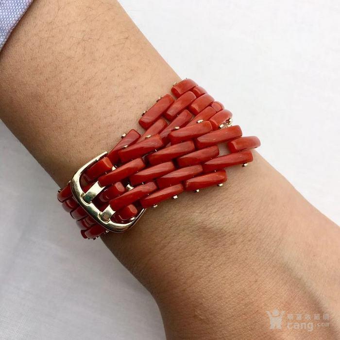 18k金镶嵌意大利产沙丁特级色珊瑚 带款手链软手镯图6
