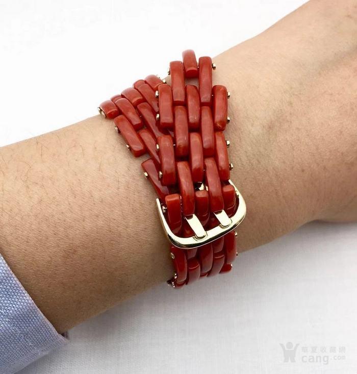 18k金镶嵌意大利产沙丁特级色珊瑚 带款手链软手镯图7