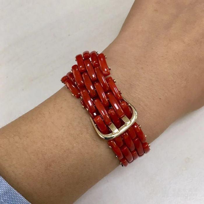18k金镶嵌意大利产沙丁特级色珊瑚 带款手链软手镯图8