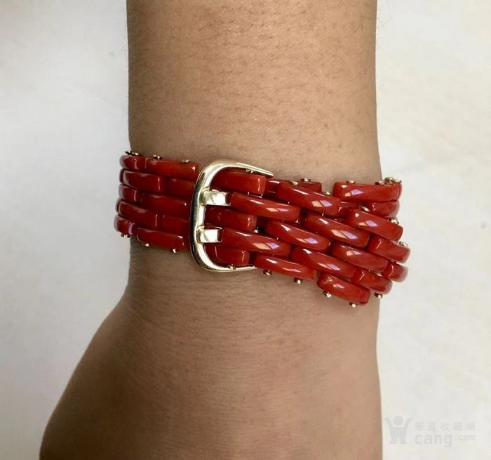 18k金镶嵌意大利产沙丁特级色珊瑚 带款手链软手镯图9