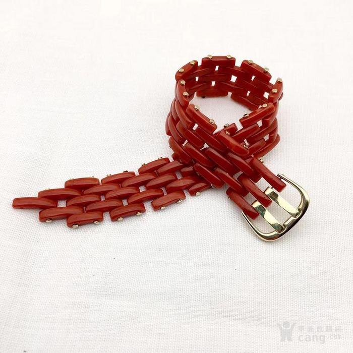 18k金镶嵌意大利产沙丁特级色珊瑚 带款手链软手镯图1