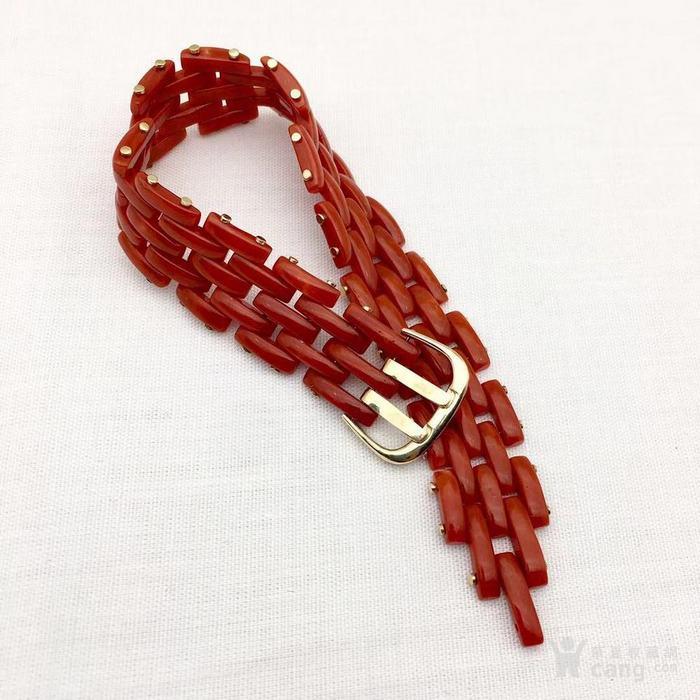 18k金镶嵌意大利产沙丁特级色珊瑚 带款手链软手镯图2