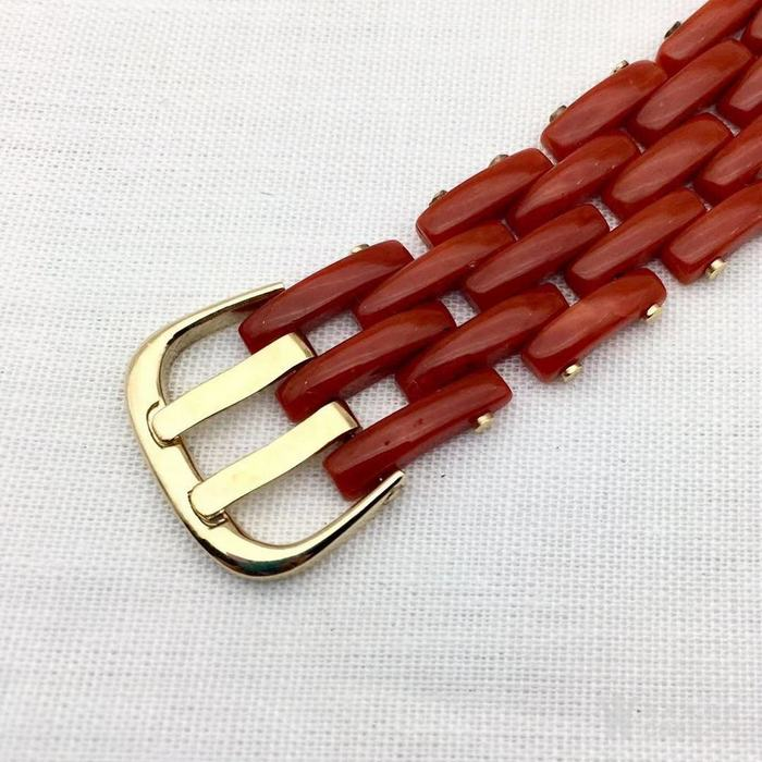 18k金镶嵌意大利产沙丁特级色珊瑚 带款手链软手镯图3