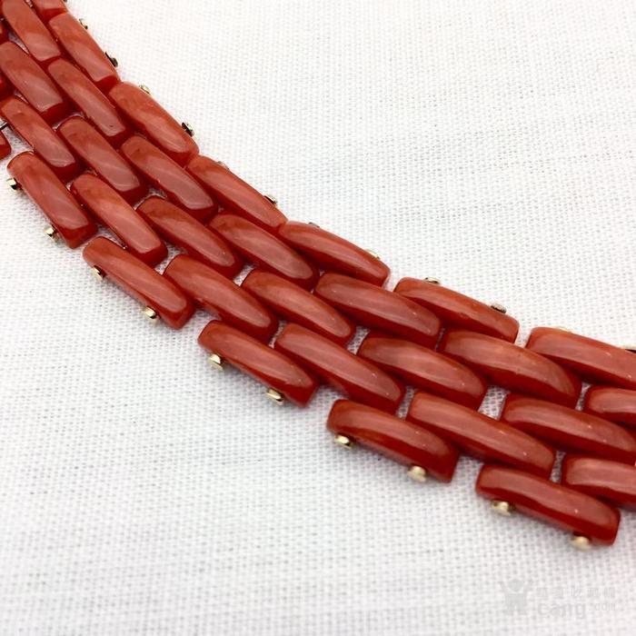 18k金镶嵌意大利产沙丁特级色珊瑚 带款手链软手镯图4
