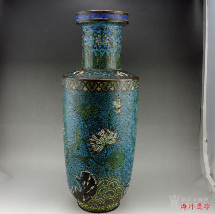 清代 铜胎掐丝珐琅摇钱树纹棒槌瓶 56.5厘米图2