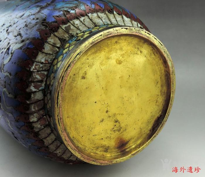 清代 铜胎掐丝珐琅摇钱树纹棒槌瓶 56.5厘米图9