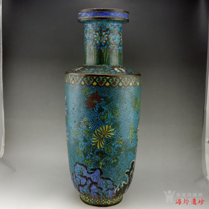 清代 铜胎掐丝珐琅摇钱树纹棒槌瓶 56.5厘米图5