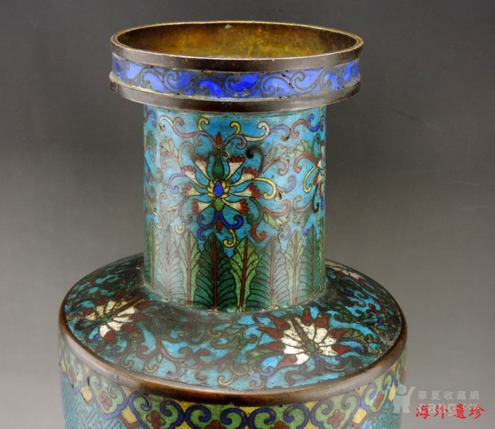 清代 铜胎掐丝珐琅摇钱树纹棒槌瓶 56.5厘米图8