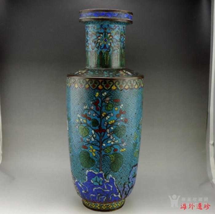 清代 铜胎掐丝珐琅摇钱树纹棒槌瓶 56.5厘米图12
