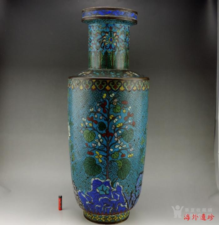 清代 铜胎掐丝珐琅摇钱树纹棒槌瓶 56.5厘米图1