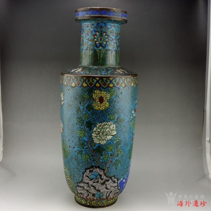 清代 铜胎掐丝珐琅摇钱树纹棒槌瓶 56.5厘米图6