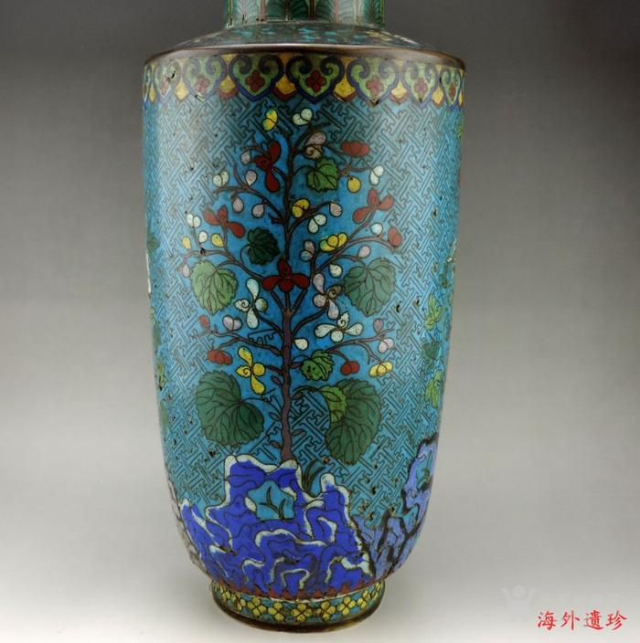 清代 铜胎掐丝珐琅摇钱树纹棒槌瓶 56.5厘米图3