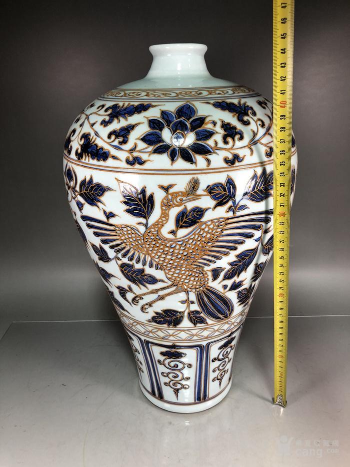 元代青花堆线条凤纹梅瓶图6