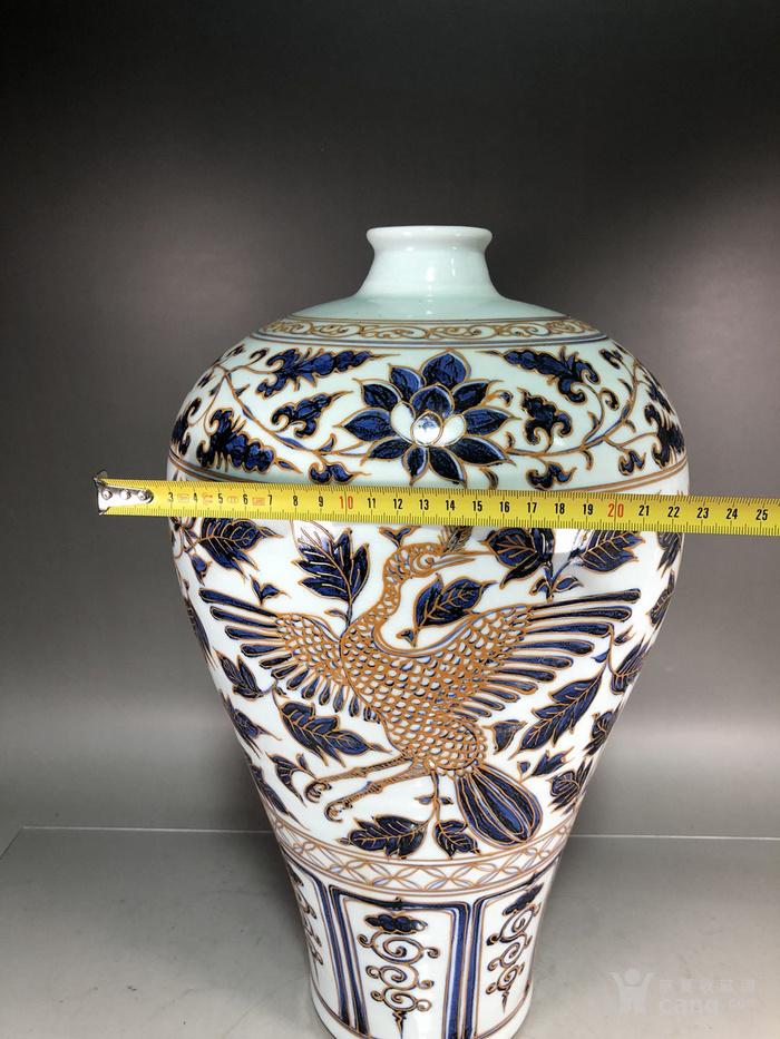 元代青花堆线条凤纹梅瓶图7