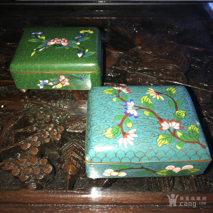 晚清民国景泰蓝掐丝珐琅文盒两只图1