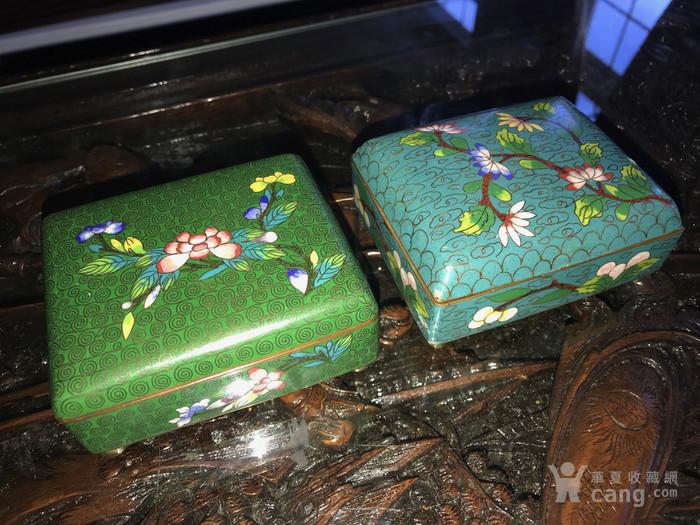 晚清民国景泰蓝掐丝珐琅文盒两只图2