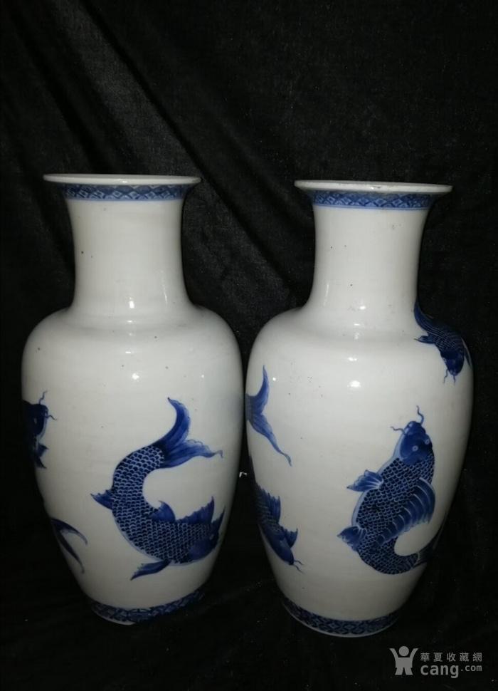清代   康熙青花鲤鱼图花瓶一对图2
