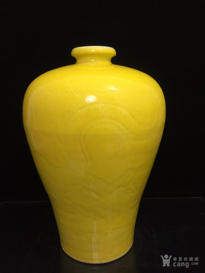 明,黄釉暗纹龙纹梅瓶图6