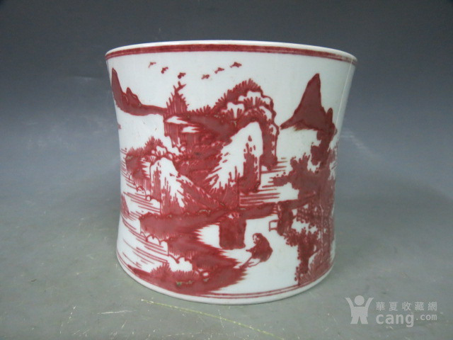 釉里红山水笔筒图3
