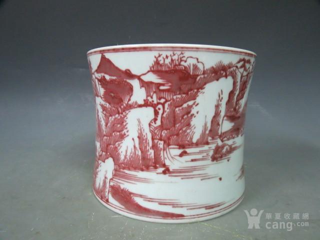 釉里红山水笔筒图5