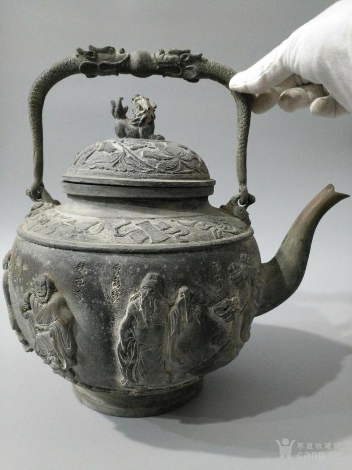 旧藏乾隆御制青tong大茶壶 八仙壶 图1