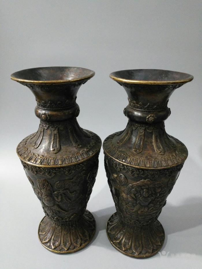 lao黄铜喇叭形花瓶 大鹏金翅鸟 图1