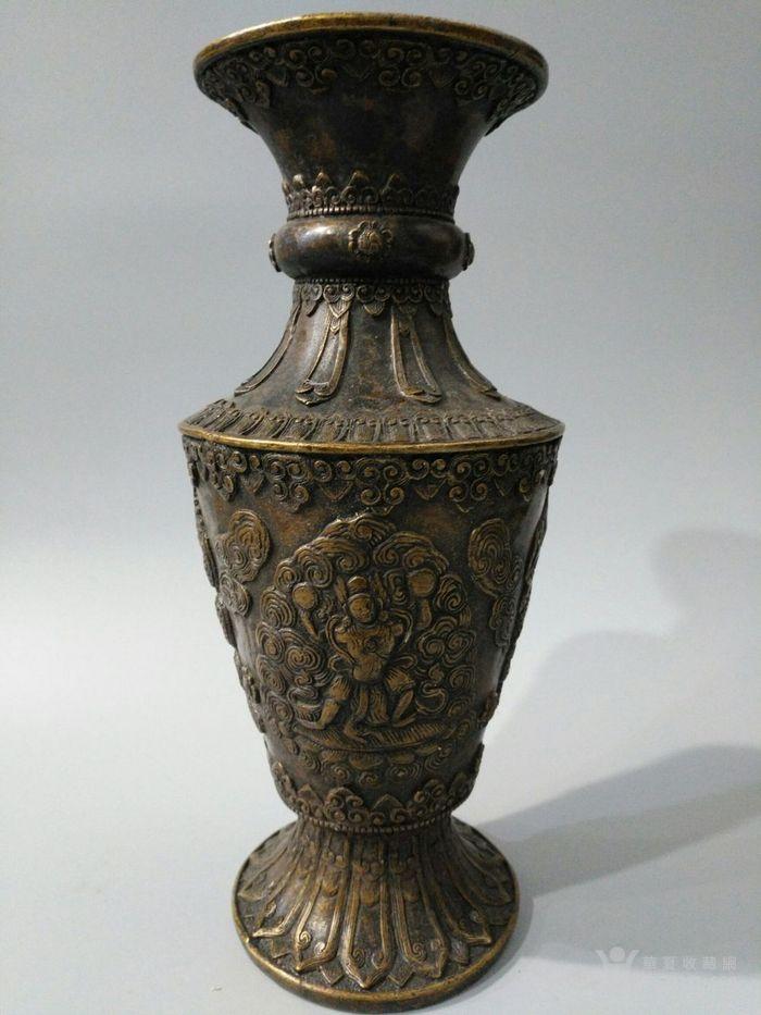 lao黄铜喇叭形花瓶 大鹏金翅鸟 图4