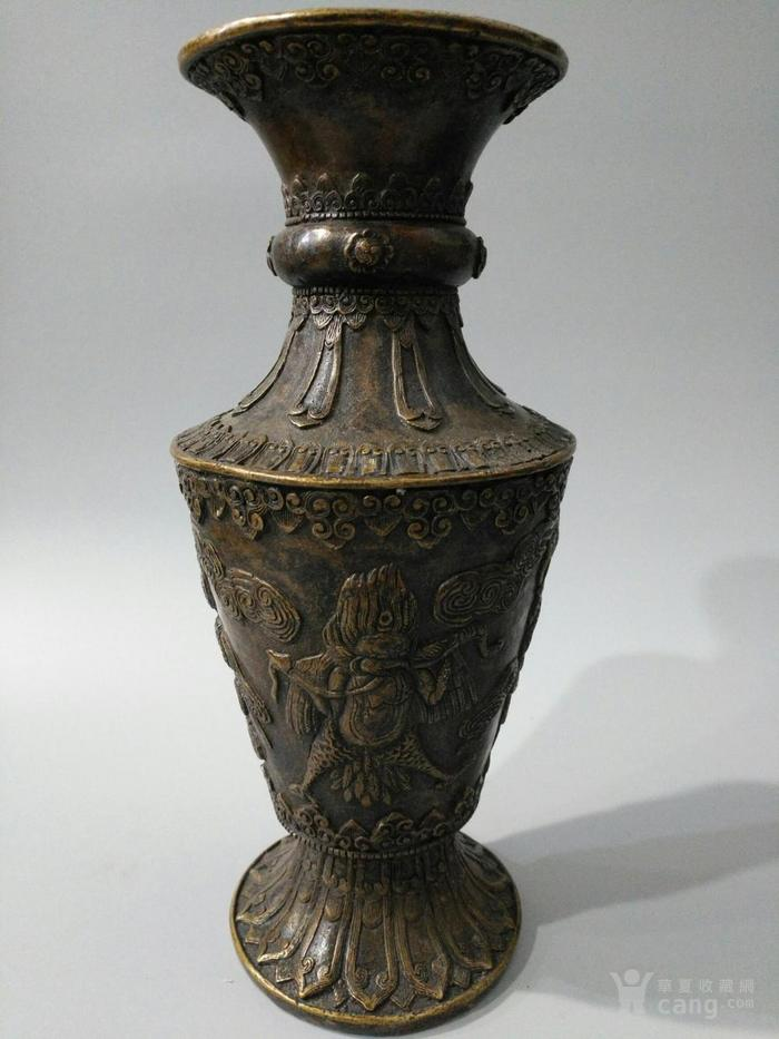 lao黄铜喇叭形花瓶 大鹏金翅鸟 图5