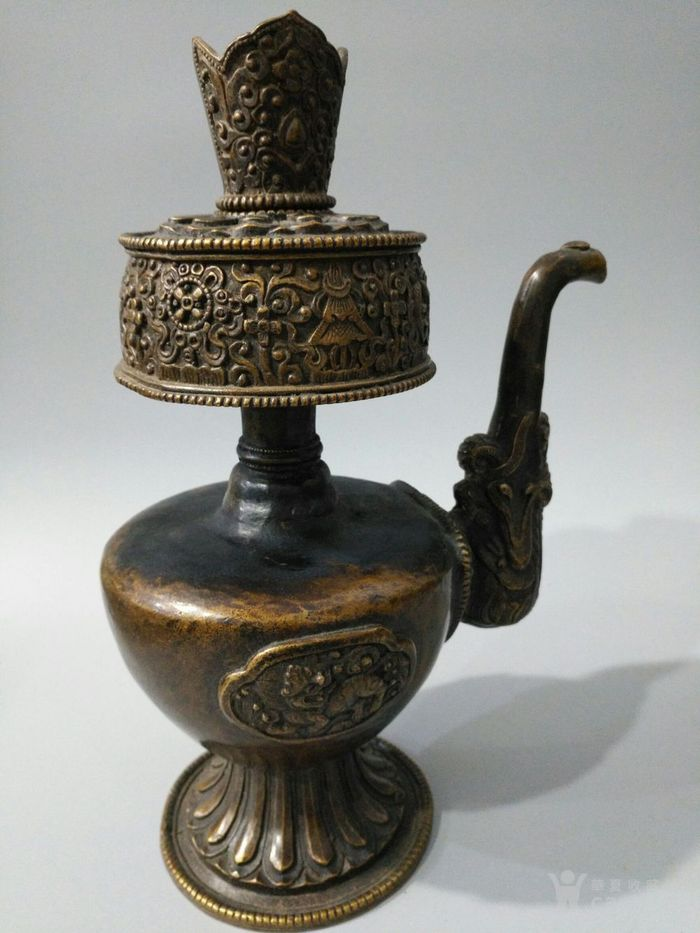 lao黄铜八吉祥 酥油茶壶 图8