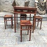 雕竹节的方桌一套