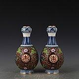 瓷胎掐丝珐琅彩花卉寿字蒜头瓶