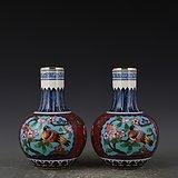 瓷胎掐丝珐琅彩花鸟天球瓶