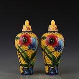 瓷胎掐丝珐琅彩黄地花卉带盖梅瓶