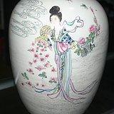 民国大名家毛子荣作品粉彩人物罐